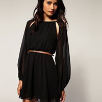 TFNC | TFNC Belted Chiffon Cut Out Dress at ASOS