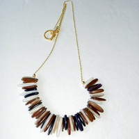 Brown Shell Stick Necklace on Gold Chain
