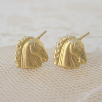 Unicorn Stud Earrings by ClementinesJewelry on Etsy