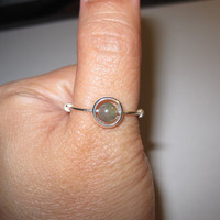 Green Beaded Ring Wire Wrapped Dainty Ring Modern Chic Minimalist Ring