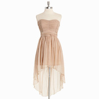 regal nights asymmetrical chiffon dress in light taupe - &amp;#36;54.99 : ShopRuche.com, Vintage Inspired Clothing, Affordable Clothes, Eco friendly Fashion