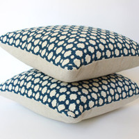 Schumacher Pillow Covers, Woven Blue and Ivory Geometric Design, Two 18x18 Pillow Covers