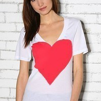 Red Heart Hand STENCILED Deep V Neck Artist Series Tee in White- XS S M L XL 2XL