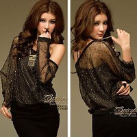 Sexy Golden Plated String Knit Sequined Cut Out See Through Top Blouse S M L T6N