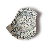 Blue bird bowl in cream stoneware ceramic with vintage lace texture in steel blue grey Handmade in England British studio pottery