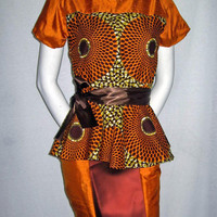 Brown Orange African Wax Print and Dupioni Silk Color Block Peplum Top