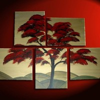 Large Tree Painting Red Gold Huge Art Custom Modern by NathalieVan