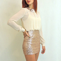 Secretary Sparkler Sequin Dress in Ivory and Gold -  $58.00 | Daily Chic Dresses | International Shipping