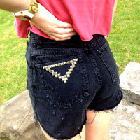 SALE - High Waisted Black Studded Shorts