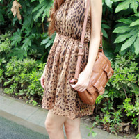 Leopard Printed Chiffon Scoop Neckline Short Casual Dress  - 12360935903
