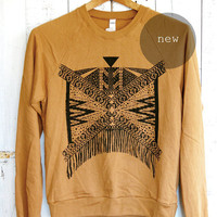 Xochitl - Unisex tribal aztec Sweatshirt in Camel and Black - by Bark Decor