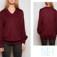 Vintage 70&#x27;s Maroon Sweater with V-Neck