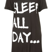 'Sleep All Day' Oversized Tee - Lingerie & Nightwear  - Clothing