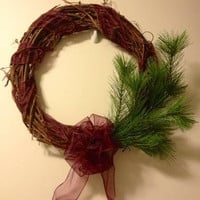 Grapevine Christmas Wreath, Burgundy Ribbon