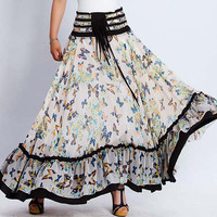 Butterfly elegant long chiffon skirt dress (0137)