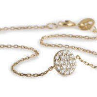 "KARA ACKERMAN ? ""New"" Kara Ackerman <i> Audrey <i/> 14k Yellow Gold and Diamond Disc Bracelet"