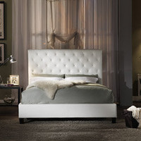 Sophie Tufted White Faux Leather Queen-size Platform Bed | Overstock.com