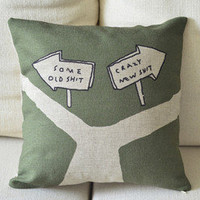 Fork Road Print Decorative Pillow [028] : Cozyhere