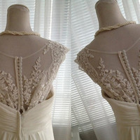 Vintage Lace Chiffon Wedding Dress Bridal Gown Lace Flower Buttons Back A LINE with Train Bow Sash Dress See Through Back Cap Sleeves