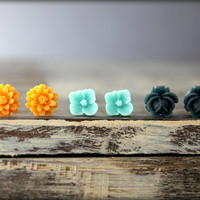Flower Earring Studs Trio: Pumpkin Orange Daisies, Pale Aqua Sakura Blossom, Navy Blue Rose Bud