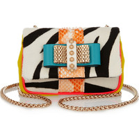 Christian Louboutin | Sweety Charity calf hair and python shoulder bag | NET-A-PORTER.COM