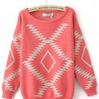 Geometric Diamond Pattern Loose Bat Sleeve Sweater Red - Designer Shoes|Bqueenshoes.com
