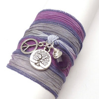 Silk Ribbon Wrap Bracelet  by charmeddesign1012