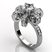Platinum diamond unique floral engagement ring, bridal ring, wedding ring ER-1025