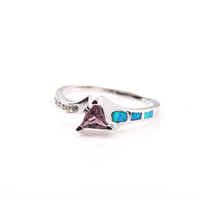 Elegant Triangle Opal&Rhinestone Platinum Plated Ring at Online Jewelry Store Gofavor