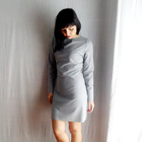 Grey fitted dress in jersey - grey shift dress long sleeve dress cotton dress womens dress