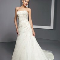Stunning A Line Straps Court Train Lace Sleeves Wedding Dress-$428.99-ReliableTrustStore.com