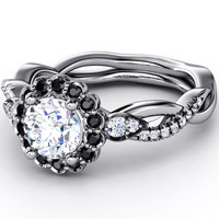 Engagement Ring - Black Diamond Halo Engagement Ring Twisted Pave Band in 14K White Gold - ES1002