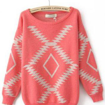 Geometric Diamond Pattern  Sweater Red  S005700