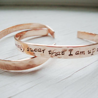 I solemnly swear that I am up to no good hammered copper cuff personalized