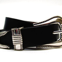Mens Leather Belt with Three Piece Deco Buckle - Handcrafted in America