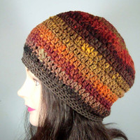 Beret Hat Tam Hat in Autumn Leaves Stripes by MelsBellsClocheHats