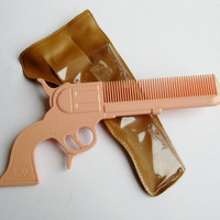 Vintage 40s Rodeo Queen Gun Shaped Novelty Hair Comb & Holster