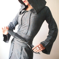 Houdini Blues - iheartfink Handmade Hand Printed Womens Hoodie Tunic Mini Dress with Belt