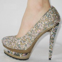 Gianmarco Lorenzi Colorful Crystal Pumps