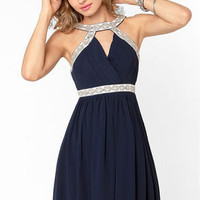 Elegance in the Room Navy Blue Beaded Dress