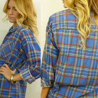 Vtg 90s Blue Plaid GRUNGE Flannel Boyfriend Shirt Blouse Size xs- medium