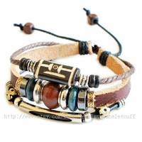 jewelry bangle leather bracelet fashion bracelet women bracelet men bracelet cuff made of leather ropes wood beads metal SH-00000016