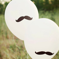 BLACK Mustache Party Balloons - Set of 12