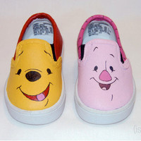Hand Painted Pooh & Piglet Shoes