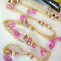 Hot Pink Corundrum Quartz Opera Length Necklace