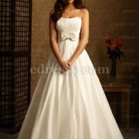A-line Strapless Chapel Train Taffeta Wedding Dress with Crystal and Beading at Msdressy
