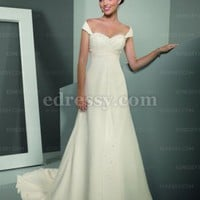 A-line Strapless Chapel Train Chiffon Wedding Dress with Crystal and Beading at Msdressy