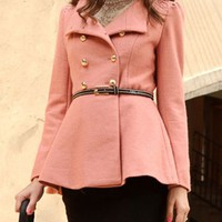 OASAP - Standing Collar Double Breasted Peplum Coat - Street Fashion Store