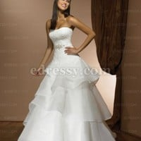 Ball Gown Strapless Chapel Train Satin Wedding Dress with Pleating at Msdressy