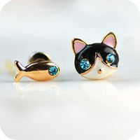 Betsey Johnson Synchronous Cute kitten fish earrings earrings Jewelry#BJ-E100Y